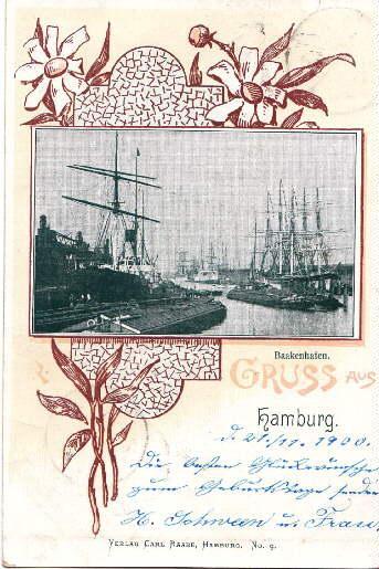 Baakenhafen. Ansichtskarte in Lichtdruck, umgeben von ornamentaler: Hamburg -
