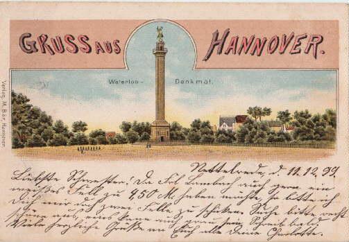 Gruss aus Hannover. Waterloo-Denkmal. Ansichtskarte in farbiger: Hannover -