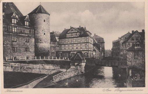 Am Beguinenturm. Ansichtskarte in Kupfertiefdruck. Abgestempelt Hannover: Hannover -