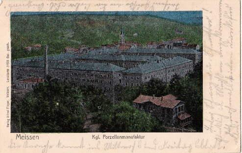 Kgl. Porzellanmanufaktur. Ansichtskarte in farbigem Silberdruck (Lunakarte).: Meissen -