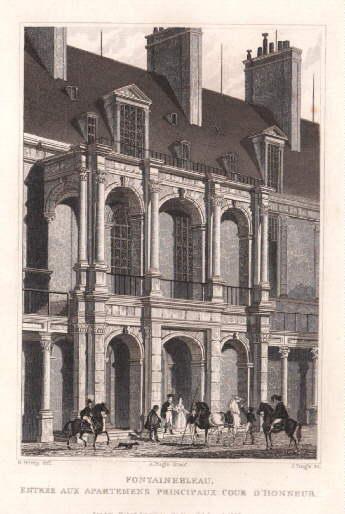 Entrée aux Apartemens Principaux Cour d`Honneur. Stahlstich: Fontainebleau -