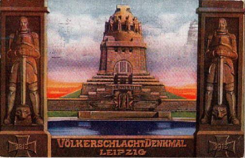 Völkerschlacht-Denkmal. Farbige Ansichtskarte. Abgestempelt Leipzig 18.10.1913 (Weihe: Leipzig -