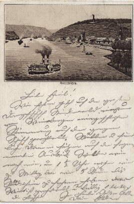 Ansichtskarte. Ansicht vom Rhein. Abgestempelt - Rüdesheim: Rüdesheim -