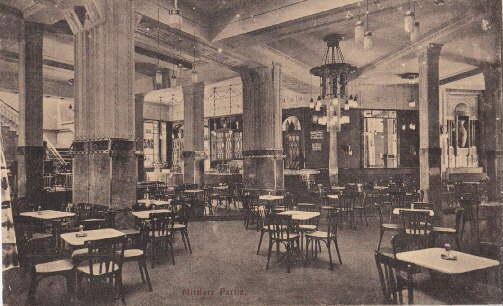 Café Continental. Innenansicht. Ansichtskarte in bräunlichem Lichtdruck.: Hannover -