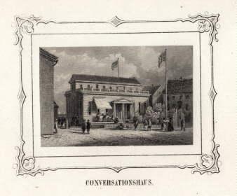 Conversationshaus. Stahlstich mit ornamentaler Bordüre (von James: Helgoland -
