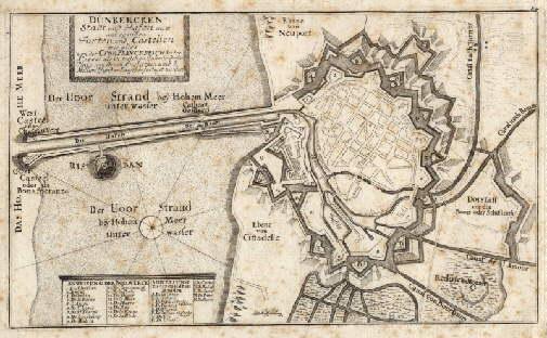 Stadt und Hafen mit anliegenden Forten und: Dünkirchen -