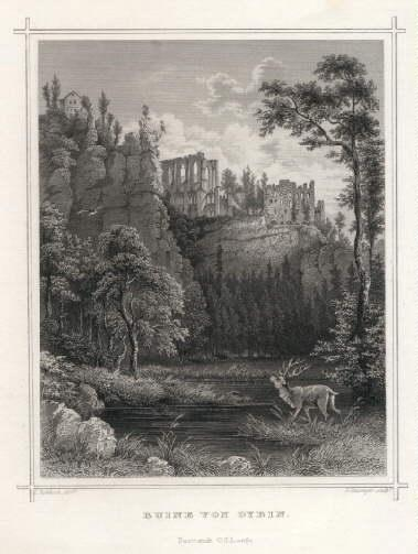 Ruine von Oybin. Stahlstich von G.Heisinger nach: Meissen -