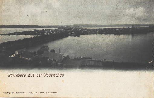 Ansicht aus der Vogelschau. Ansichtskarte in Lichtdruck.: Ratzeburg -