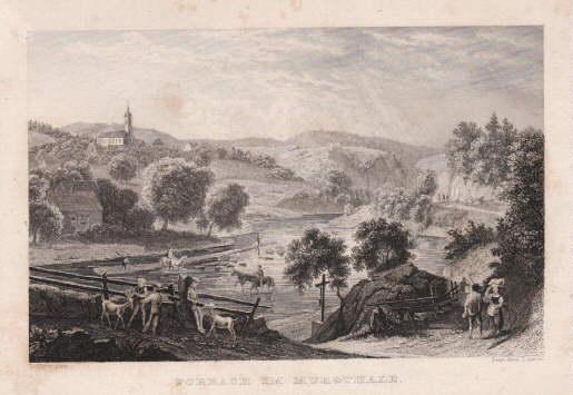 Gesamtansicht. Stahlstich von J. Axmann nach L.Mayer.: Forbach im Murgtal