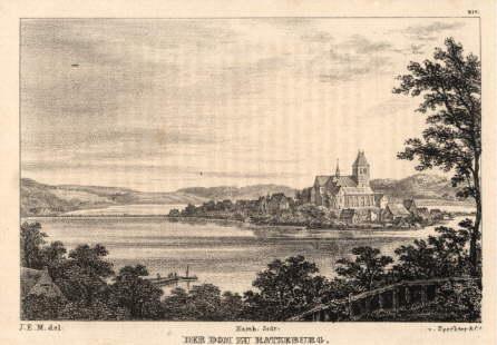 Ansicht mit Dom. Lithographie nach J.E.Marston im: Ratzeburg -