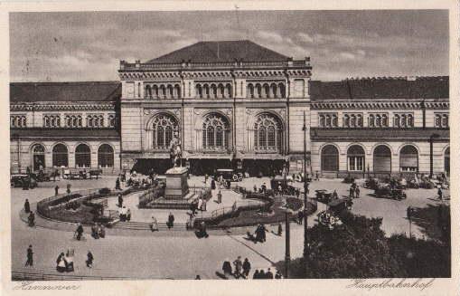 Hauptbahnhof. Ansichtskarte in Kupfertiefdruck. Abgestempelt Hannover 18.06.1828.: Hannover -