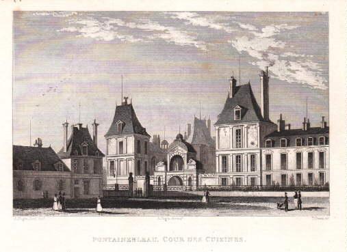 Cour des Cousines. Stahlstich von T. Owen: Fontainebleau -