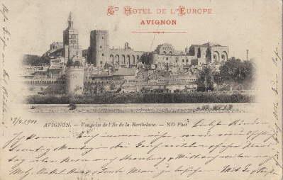 Vue prise de l`ile de la Barthelasse.: Avignon -