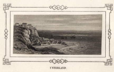 Unterland. Stahlstich mit ornamentaler Bordüre (von James: Helgoland -