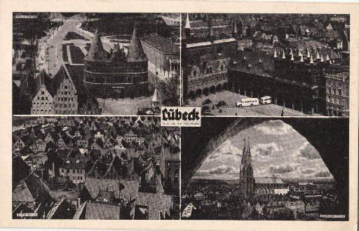 Vier Ansichten (Holstentor, Rathaus, Stadtblick, Marienkirche). Ansichtskarte: Lübeck -