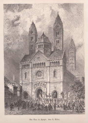 Der Dom. Holzstich mit Tonplatte von L.Ritter.: Speyer -