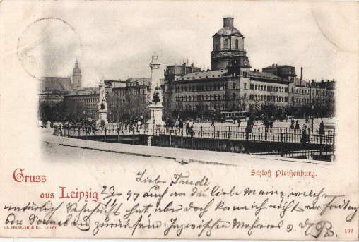 Schloß Pleißenburg. Ansichtskarte in Lichtdruck. Abgestempelt Leipzig: Leipzig -