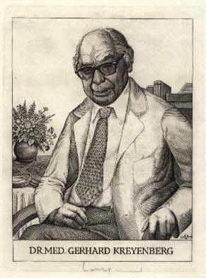Exlibris für Dr.med.Gerhard Kreyenberg. Original-Kupferstich von Oswin: Volkamer, Oswin -