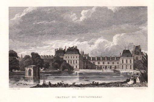 Chateau de Fontainbleau. Stahlstich von E.I.Roberts nach: Fontainebleau -