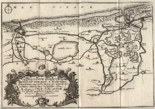"""Karte der Umgebung. """"Gegend von Duykercken, Furnes: Dünkirchen -"""