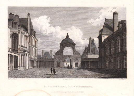 Cour de Honneur. Stahlstich von T. Owen: Fontainebleau -
