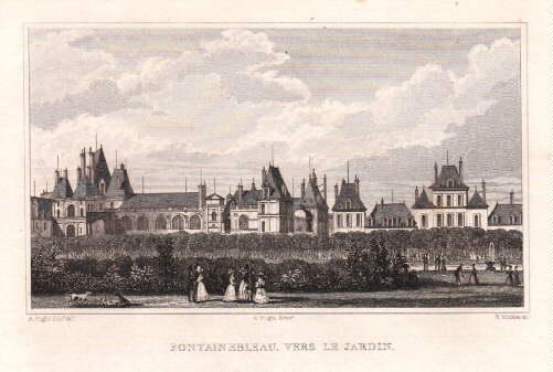 Vers le Jardin. Stahlstich von B.Winkles nach: Fontainebleau -