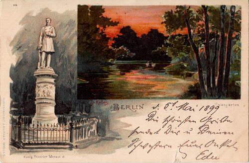 Zwei Ansichten (Thiergarten, König Friedrich III. Denkmal).: Berlin -