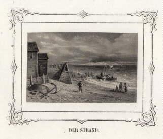 Der Strand. Stahlstich mit ornamentaler Bordüre (von: Helgoland -