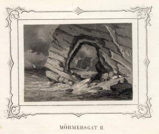Mömmersgat II. Stahlstich mit ornamentaler Bordüre (von: Helgoland -