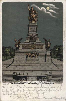 Nationaldenkmal auf dem Niederwald. Ansichtskarte in Farblithographie.: Rüdesheim -