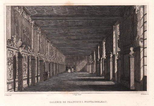 Galerie de Francois I. Stahlstich von B.Winkles: Fontainebleau -