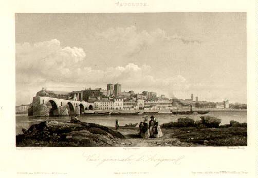 Gesamtansicht mit der Brücke. Vue générale d`Avignon.: Avignon -