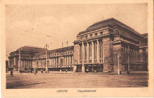 Hauptbahnhof. Ansichtskarte bräunlichem Lichtdruck. Abgestempelt Leipzig 18.01.1918.: Leipzig -