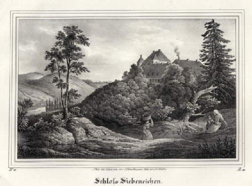 Siebeneichen - Ansicht des Schlosses. Kreidelithographie von: Meissen -