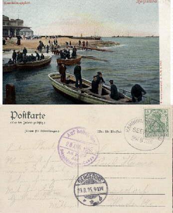 Einschiffungsplatz. Farbige Ansichtskarte. Abgestempelt - Hamburg-Helgoland -: Helgoland -