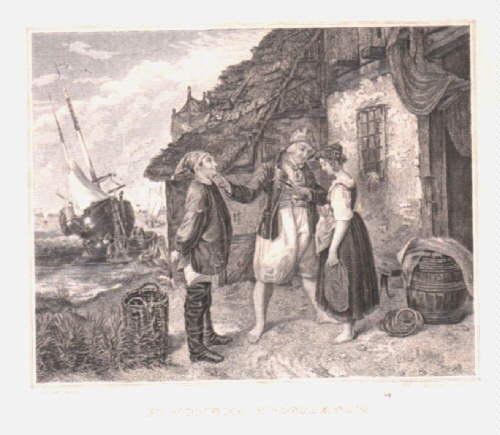 Bewohner Helgolands (Der Heiratsantrag auf Helgoland).Stahlstich von: Helgoland -
