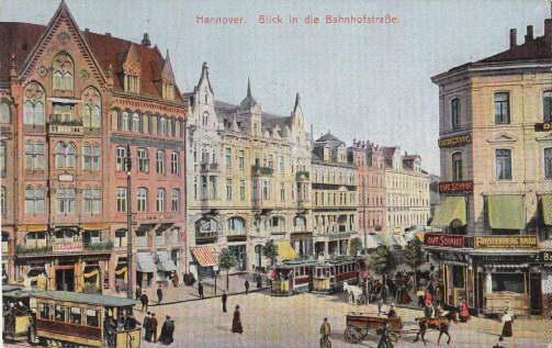 Blick in die Bahnhofstraße. Ansichtskarte in farbigem: Hannover -