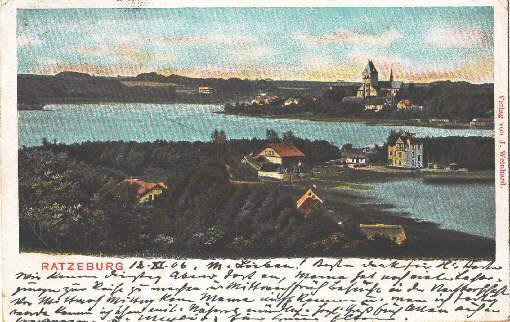 Ansichtskarte in farbigem Lichtdruck. Abgestempelt Ratzeburg 13.11.1906.: Ratzeburg -