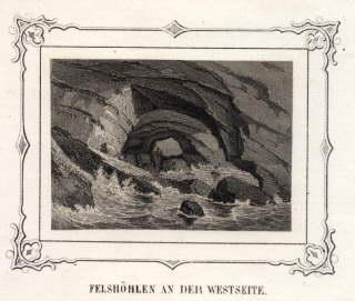 Felshöhlen an der Westküste. Stahlstich mit ornamentaler: Helgoland -