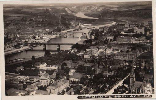 Luftbild Meissen a.Elbe. Ansichtskarte in Photodruck. Abgestempelt: Meissen -