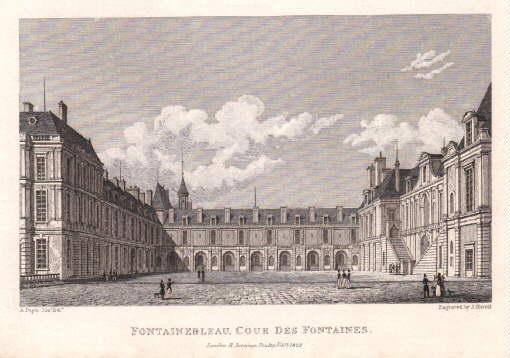 Cour des Fontaines. Stahlstich von J.Havell nach: Fontainebleau -