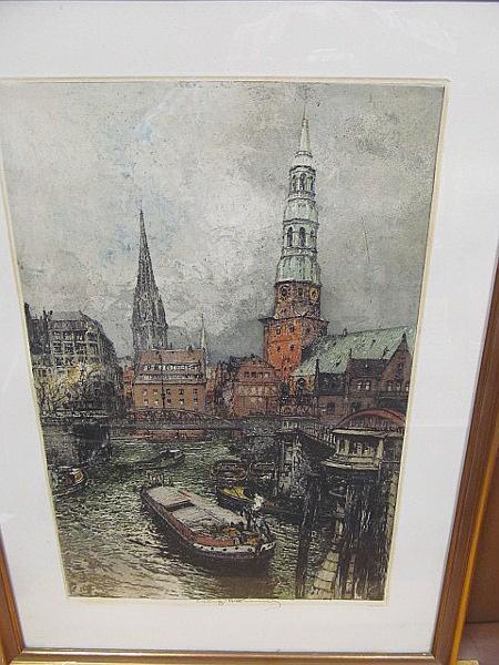 Hamburg: Blick auf die Katharinenkirche und Nicolaikirche: Kasimir, Luigi (