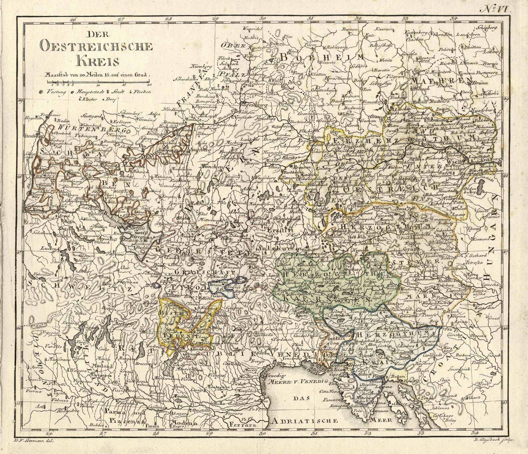 Der Oestreichsche Kreis - D.F. Sotzmann del.: ÖSTERREICH (Austria) -