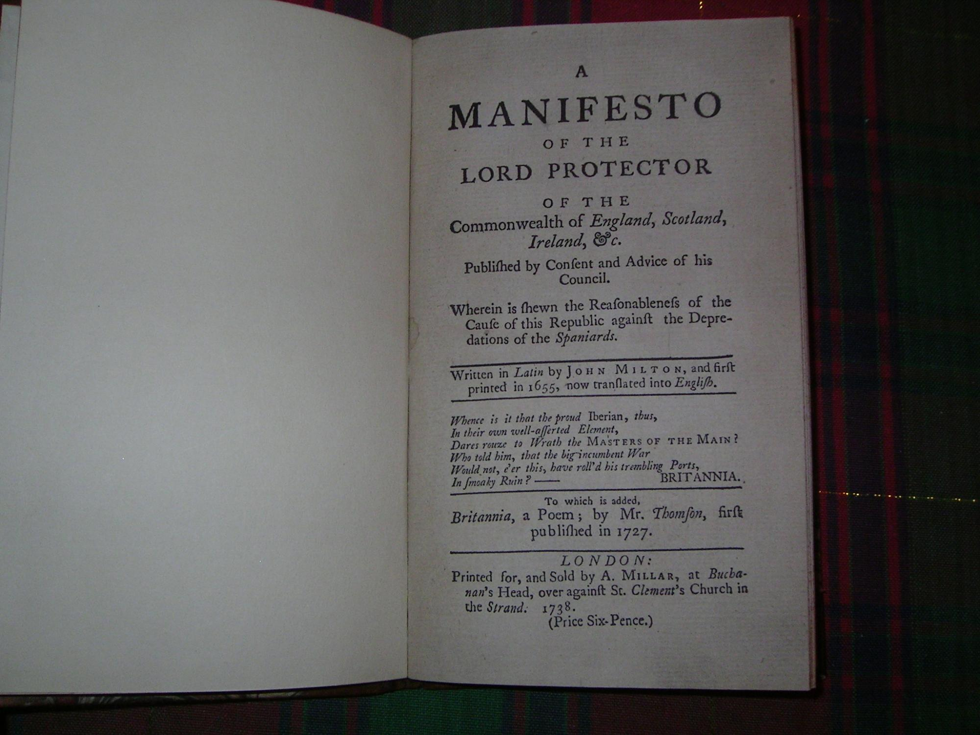 A MANIFESTO OF THE LORD PROTECTOR OF: Milton (John) ;-