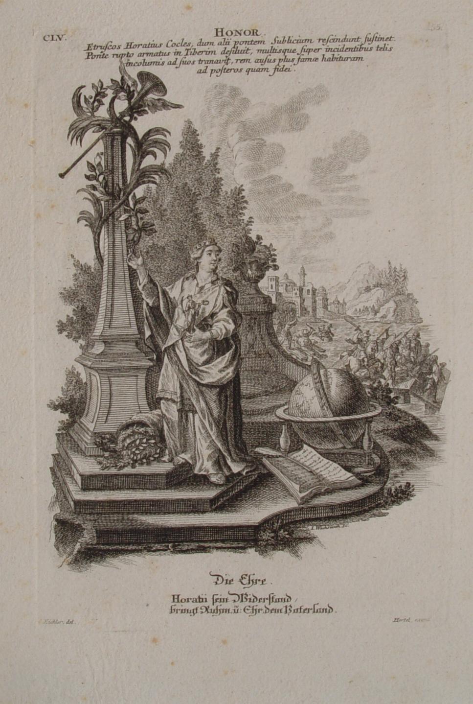 """Die Ehre"""" originaler Kupferstich ca. 19x13cm von: Hertel, Johann Georg"""