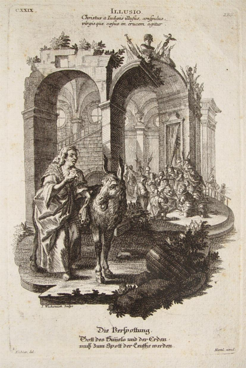 """Die Verspottung"""" originaler Kupferstich ca. 19x13cm von: Hertel, Johann Georg"""