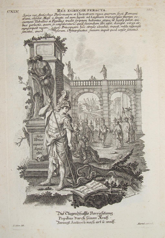 """Die Tugendhaffte Verreichtung"""" originaler Kupferstich ca. 19x13cm: Hertel, Johann Georg"""
