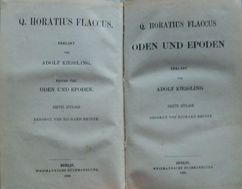 Oden und Epoden - Erklärt von Adolf: Quintus Horatius Flaccus