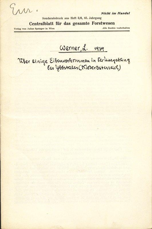 Über einige Eibenvorkommen in der Umgebung des: Werner, L.: