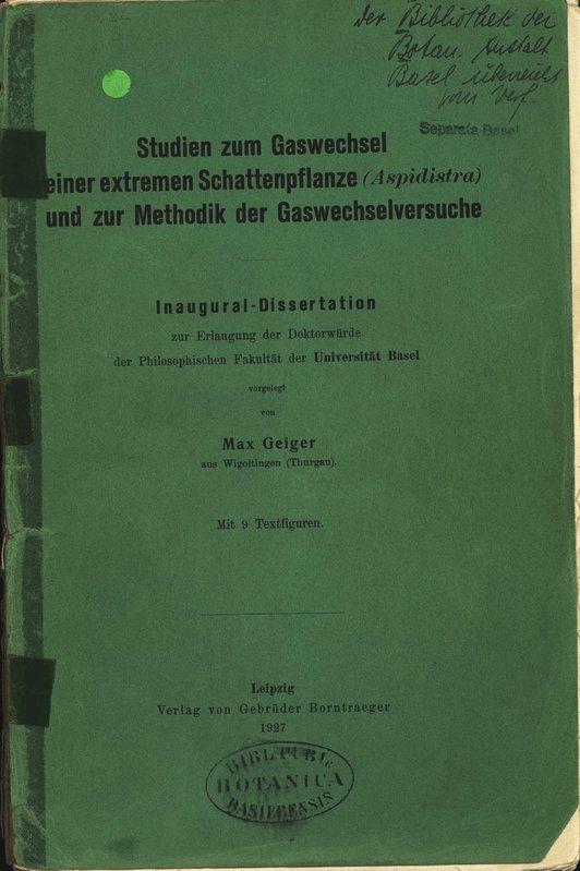 Studien zum Gaswechsel einer extremen Schattenpflanze (Aspidistra): Geiger, Max: